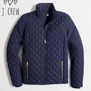 EUC J. Crew quilted navy gold jacket XXS
